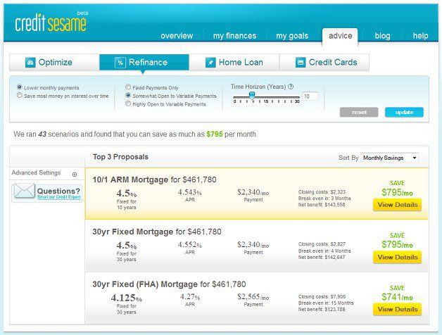 credit sesame refinancing tool